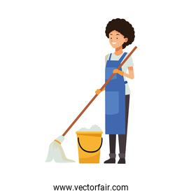 housekeeping female worker with mop and bucket