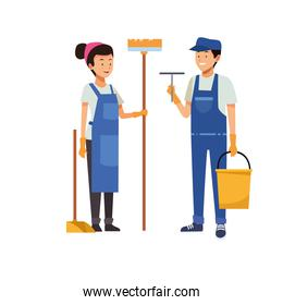housekeeping couple workers with tools characters