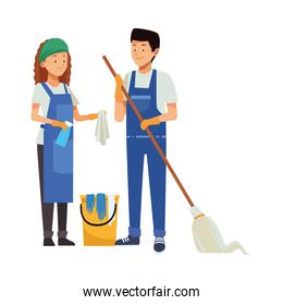 housekeeping couple workers with mop and bucket