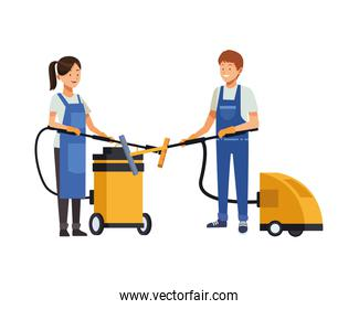 housekeeping couple workers with vacuuns cleaners appliances