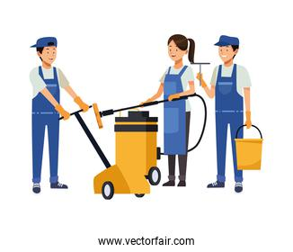 housekeeping team workers with equipment tools