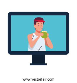 man wearing beach suit drinking coconut cocktail in desktop character