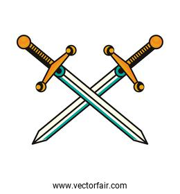 swords weapons crossed tattoo art icon