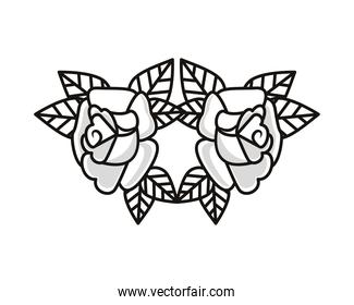 beautiful roses flowers tattoo icons