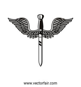 dagger weapon with wings tattoo art icon