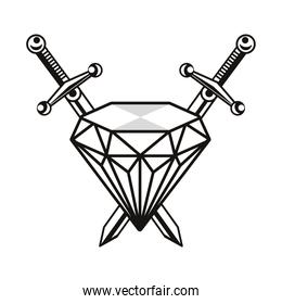 swords weapons crossed with diamond tattoo art icon
