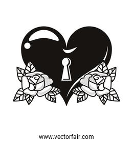 beautiful heart with roses flowers tattoo icons