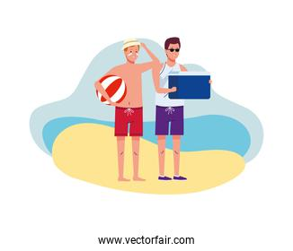 men wearing beach suits with balloon and fridge box characters