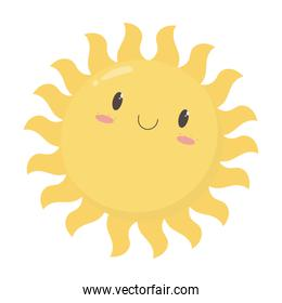 sun cartoon summer hot climate isolated icon design white background