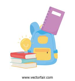 back to school, backpack books and notebook education cartoon