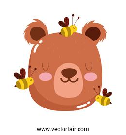 cute animals head bear and bees cartoon isolated icon design white background