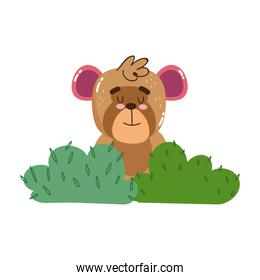 cute monkey sitting in the grass cartoon isolated icon desig
