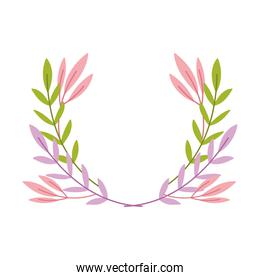 decorative branches foliage leaves isolated icon design white background