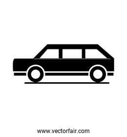 car minivan model transport vehicle silhouette style icon design