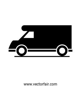 car campervan model transport vehicle silhouette style icon design