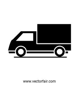 car cargo truck model transport vehicle silhouette style icon design
