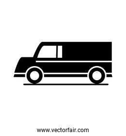 car delivery van model transport vehicle silhouette style icon design