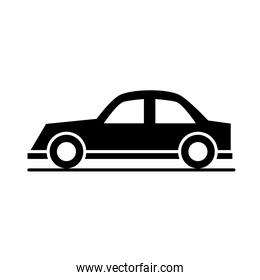 sedan car model transport vehicle silhouette style icon design
