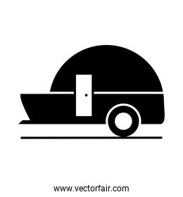trailer travel model transport vehicle silhouette style icon design