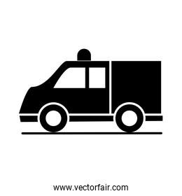 car ambulance model transport vehicle silhouette style icon design