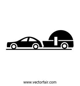car with trailer model transport vehicle silhouette style icon design