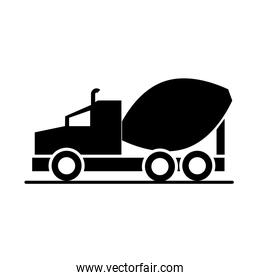 car concrete mixer truck model transport vehicle silhouette style icon design