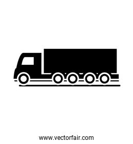 shipping delivery truck transport vehicle silhouette style icon design