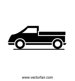 car pickup truck transport vehicle silhouette style icon design