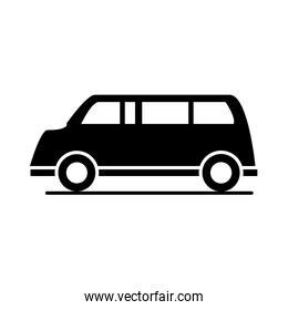 passenger car transport vehicle silhouette style icon design