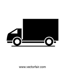 delivery truck model transport vehicle silhouette style icon design