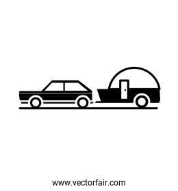 car trailer journey transport vehicle silhouette style icon design