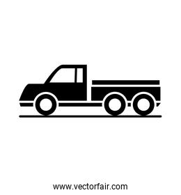 car delivery pick up model transport vehicle silhouette style icon design