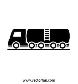 tanker truck model transport vehicle silhouette style icon design