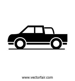 car lorry pickup transport vehicle silhouette style icon design