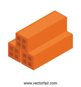 isometric repair construction stack of bricks work tool and equipment flat style icon design