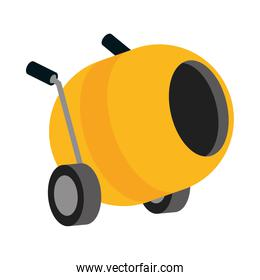 isometric repair construction concrete mixer work tool and equipment flat style icon design