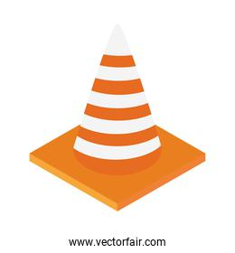isometric repair construction traffic cone caution work tool and equipment flat style icon design