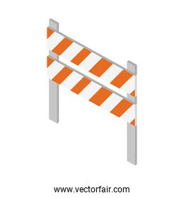 isometric repair construction traffic barricade warning work tool and equipment flat style icon design