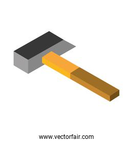 isometric repair construction hammer work tool and equipment flat style icon design