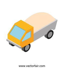 isometric repair construction dump truck with full of soil work equipment flat style icon design