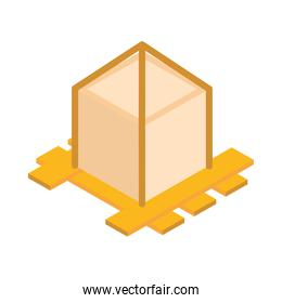 isometric repair construction wooden pallet with fixed cardboard box work flat style icon design
