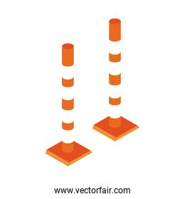 isometric repair construction road pole barrier work tool and equipment flat style icon design