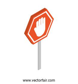 isometric repair construction warning stop sign board work tool and equipment flat style icon design