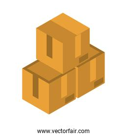isometric stack of cardboard boxes work flat style icon design
