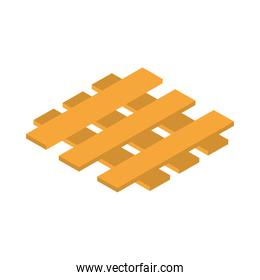 isometric wooden pallet for warehouse or construction site work equipment flat style icon design