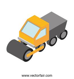 isometric repair construction road roller machinery flat style icon design