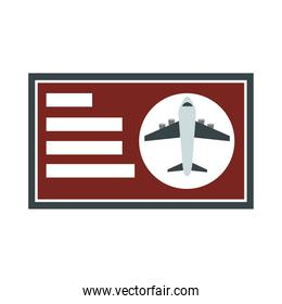 airport airline boarding pass ticket travel transport terminal tourism or business flat style icon