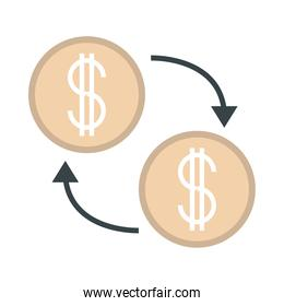 exchange money dollar financial business flat style icon
