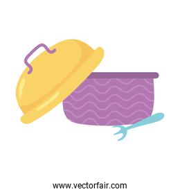 plastic lunch box and fork cartoon isolated icon design white background