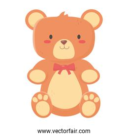 kids toys teddy bear with bow decoration isolated icon